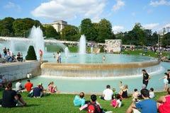 喷泉Trocadero庭院巴黎 图库摄影