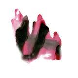 喷溅在白色背景隔绝的墨水水彩桃红色黑色染料液体水彩宏观斑点污点纹理 库存图片