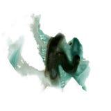 喷溅黑色墨水的绿色在白色背景隔绝的水彩染料液体水彩宏观斑点污点纹理 免版税图库摄影