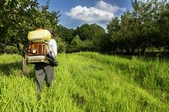 喷洒果树园的资深农夫 库存图片