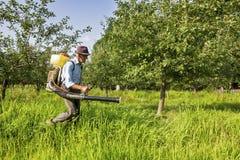 喷洒果树园的资深农夫 免版税库存图片