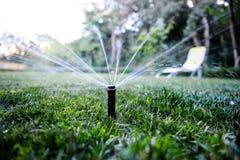 喷水隆头喷洒的水在后院 免版税库存照片