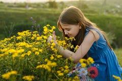 嗅到一朵黄色花的小女孩 库存照片