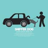 嗅探犬在车厢的狗气味 向量例证