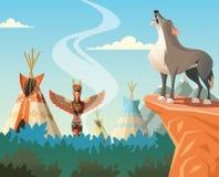 嗥叫在岩石和印度村庄的狼在背景中 免版税图库摄影