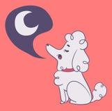 嗥叫对月亮的逗人喜爱的狗 免版税图库摄影