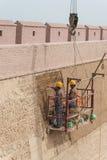 嘉峪关,中国- 2015年4月13日:恢复在工作下在贾 免版税图库摄影