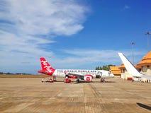 登嘉楼,马来西亚- 2015年12月30日:亚洲航空飞机lan 免版税库存照片