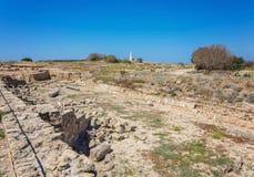嘉藤Pafos考古学公园的Saranda Kolones片段,所在地 库存图片