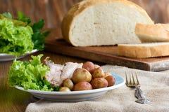 嘎吱咬嚼的烘烤带皮烤的土豆和被烘烤的猪肉 库存图片