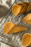 嘎吱咬嚼的自创奶蛋烘饼冰淇凌 库存图片