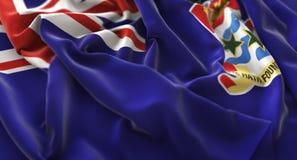 嘘开曼群岛旗子被翻动的美妙地挥动的宏观特写镜头 图库摄影