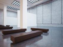 嘲笑与白色帆布和长凳的画廊 3d 库存图片