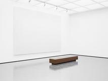 嘲笑与白色的空的画廊内部 库存图片
