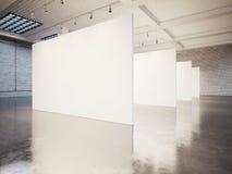嘲笑与白色的空的画廊内部 库存照片