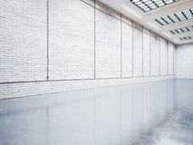 嘲笑与白色砖的画廊 3d回报 免版税库存图片