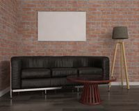嘲笑与黑沙发, 3d的海报例证 免版税库存图片