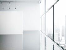 嘲笑内部空的白色的画廊和 库存图片