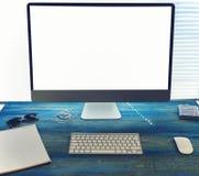 嘲笑办公室或家庭桌面有辅助部件的并且工作工具 免版税库存照片
