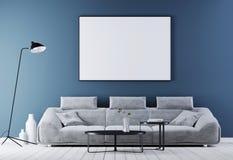 嘲笑在现代葡萄酒内部,有白革沙发的客厅的海报框架 库存例证