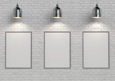嘲笑在白色砖墙上的海报有灯的 3d例证 免版税库存图片