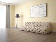 嘲笑有一个侈奢的沙发的一个紧凑客厅 库存例证