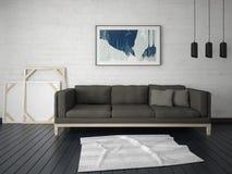 嘲笑有一个时髦沙发的一个侈奢的客厅 向量例证