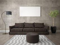 嘲笑有一个舒适的棕色沙发的一个现代客厅 向量例证