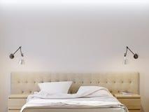 嘲笑海报卧室内部的白色墙壁 库存例证