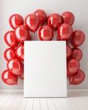 嘲笑海报在与红色气球的内部背景中, 库存照片