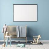 嘲笑海报在儿童` s屋子 儿童斯堪的纳维亚样式的` s室 3d例证 免版税库存照片