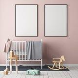嘲笑海报在儿童` s屋子 儿童斯堪的纳维亚样式的` s室 3d例证 免版税图库摄影
