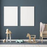 嘲笑海报在儿童` s屋子 儿童斯堪的纳维亚样式的` s室 3d例证 库存图片
