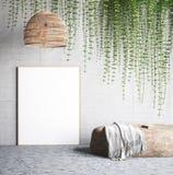 嘲笑海报在有灯、常春藤在墙壁和石头的混凝土墙附近 库存例证