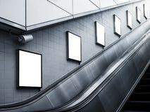 嘲笑海报媒介广告自动扶梯边地铁站 免版税图库摄影