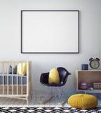 嘲笑海报框架在行家屋子,斯堪的纳维亚样式内部背景里, 库存例证