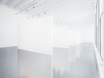 嘲笑白色画廊内部 3d回报 库存图片
