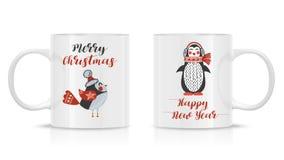 嘲笑的设计模板 向量 两个杯子大模型 免版税库存照片