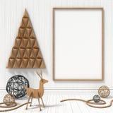嘲笑空白的画框,圣诞节装饰 3d回报 图库摄影