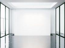 嘲笑空的白色空间内部 3d回报 库存图片