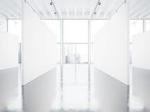 嘲笑空的白色画廊内部与 图库摄影