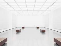 嘲笑露天场所与白色的画廊内部 库存照片