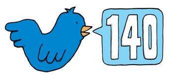 嘲笑140个字符的蓝色鸟 免版税图库摄影