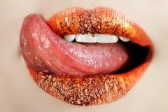 嘴唇宏指令舌头 免版税库存照片