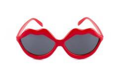 嘴唇红色太阳镜 库存图片
