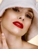 嘴唇红色妇女 免版税图库摄影