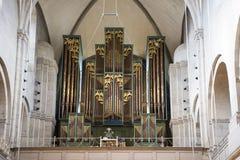 器官在教会Grossmunster苏黎世里 免版税库存照片