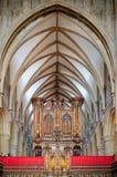 器官在格洛斯特大教堂里 库存图片