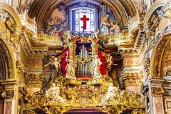 器官雕象壁画圣玛丽亚马达莱纳半岛教会罗马意大利 免版税图库摄影