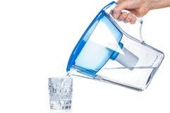 从滤水器投手的倾吐的净水 免版税库存照片